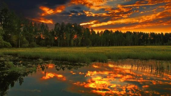 Fabolous sunset reflection wallpaper