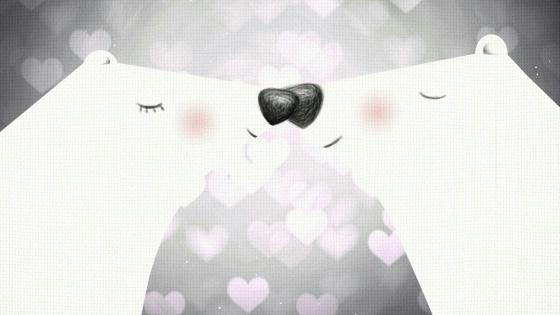 Romantic bear kiss cute illustration wallpaper