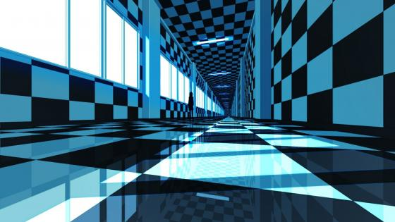 3D blue corridor anime art wallpaper