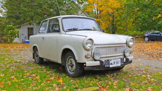 Old Trabant in the garden wallpaper