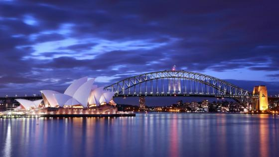 Sydney Opera House and Harbour bridge wallpaper