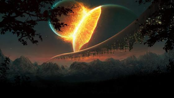 Worlds collide - Fantasy art wallpaper