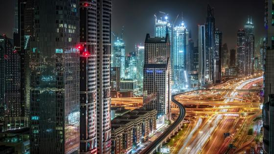 Night lights of Dubai, United Arab Emirates wallpaper