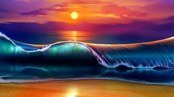 Sea sunset - Fantasy digital art wallpaper