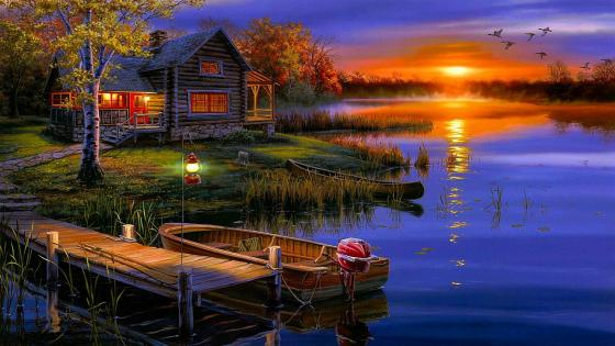Fiery sunset over the lake - Painting art ️ wallpaper