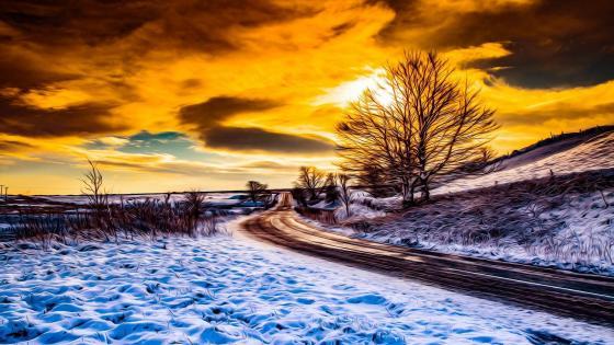Winter landscape -  Painting art wallpaper