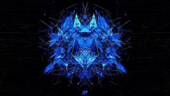 Blue prickly graphic design wallpaper