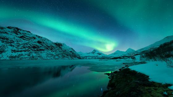 Reflected northern lights - Lofoten, Norway wallpaper