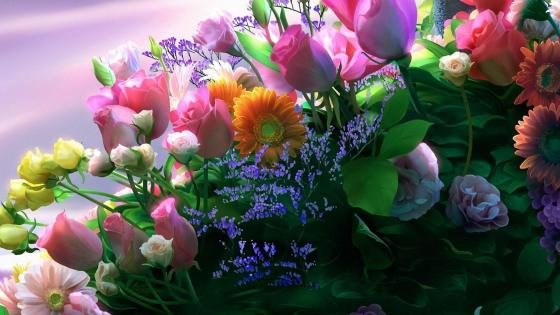 Colorful flower bouquet  wallpaper