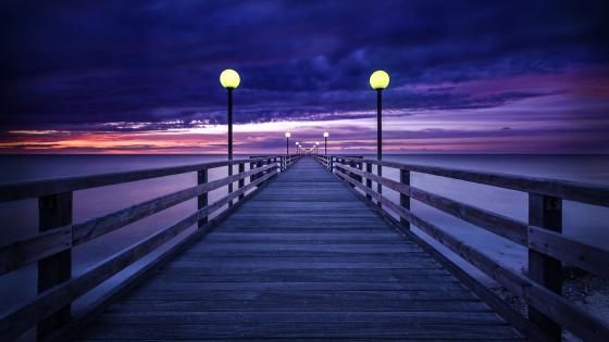 Long pier at dusk wallpaper