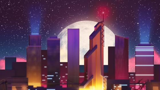 Synthwave City - Digital artwork  wallpaper