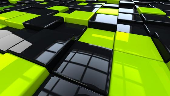 Black & yellow 3D cubes wallpaper