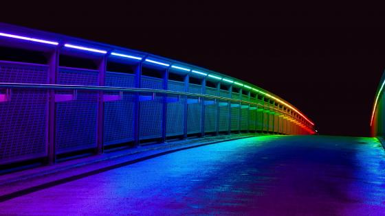 Multicolor illumination on the bridge wallpaper