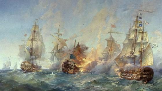 Sea battle - Painting art wallpaper