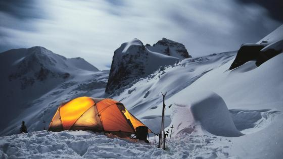 Camping in the snow wallpaper