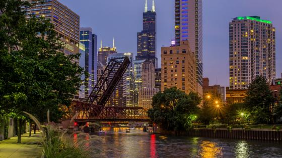 Chicago at dusk wallpaper