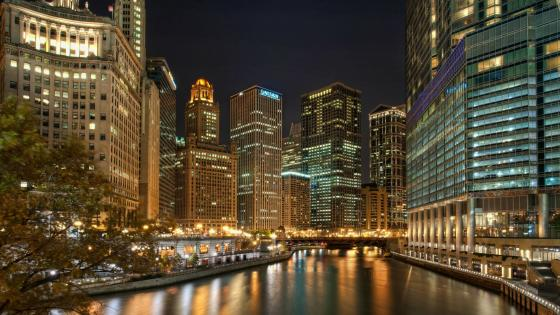 Chicago at night wallpaper
