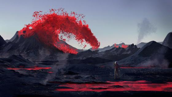 Astronaut and volcanic eruptions wallpaper