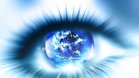 Earth in the eye - Digital art wallpaper