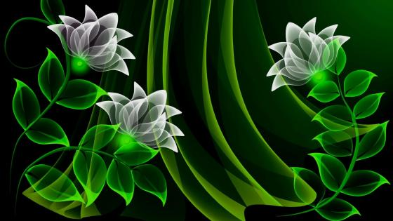 Green neon flowers - Digital Art wallpaper