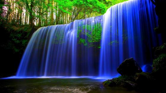 Blue waterfall wallpaper