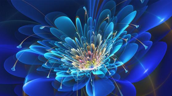 Glowing blue flower - Digital art wallpaper
