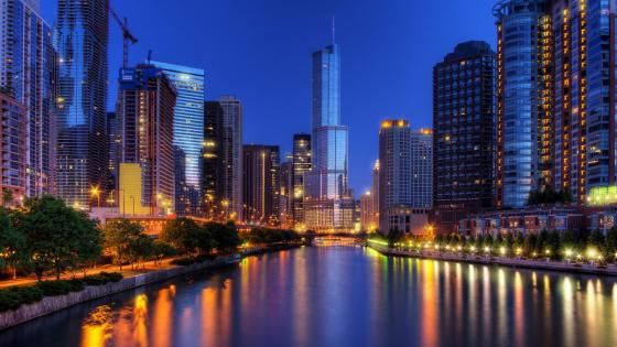 Chicago cityscape with the Chicago River at dusk wallpaper