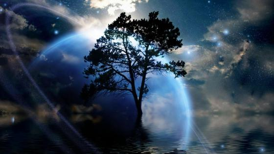 Blue planet and a lone tree - Fantasy art wallpaper