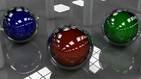 3D balls in helmet wallpaper