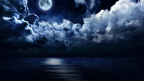 Full moon above the sea wallpaper