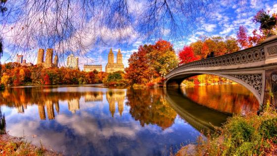 Autumn reflection in the Central Park wallpaper