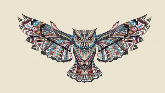 Patterned flying owl drawing illustration wallpaper