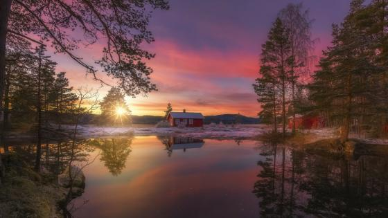 Lonely cabin on lake in winter - Ringerike, Norway wallpaper