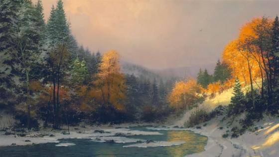 Winter landscape painting artwork wallpaper