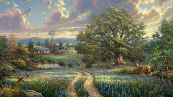 Farm in the flower field - Painting art wallpaper