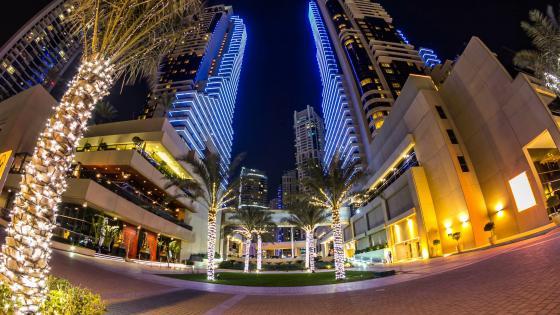Marina Promenade at night- Dubai wallpaper