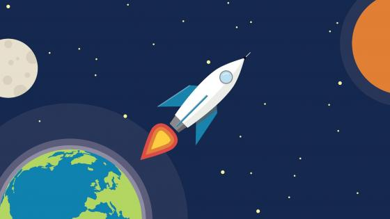 Leaving the surface of the earth - Material design rocket wallpaper