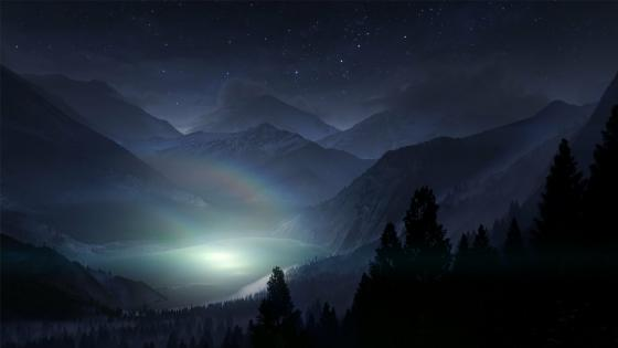 Colorado Rocky Mountains at night wallpaper