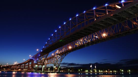 Blue Water Bridge at night wallpaper