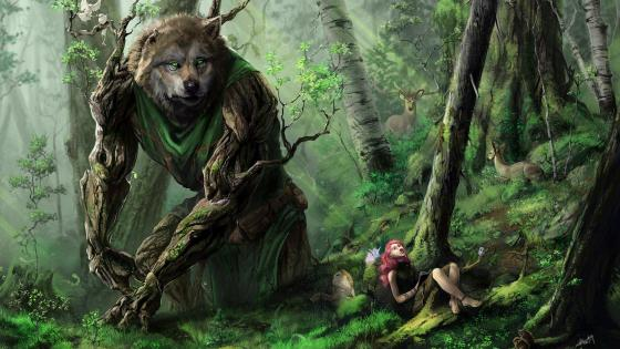 Fantasy forest with fabulous creatures wallpaper