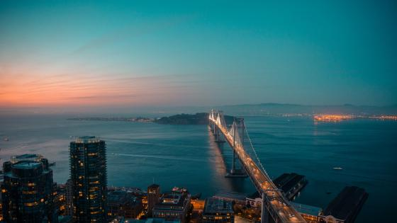 San Francisco–Oakland Bay Bridge at dusk wallpaper