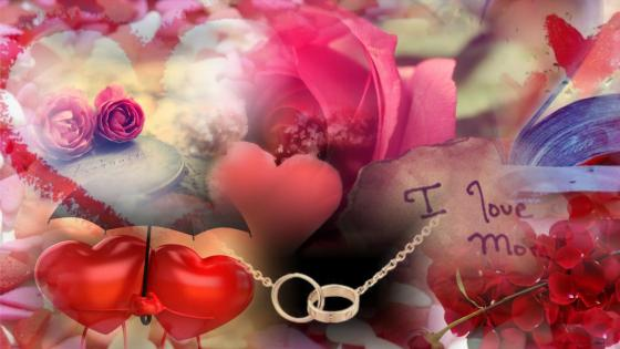 Romantic collage wallpaper
