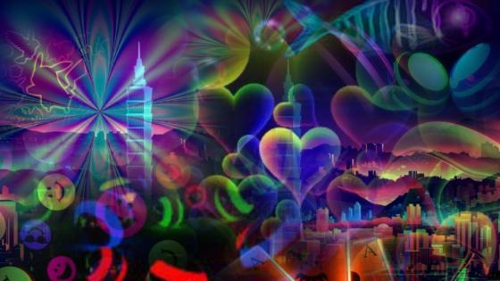 Neon collage psychedelic art wallpaper