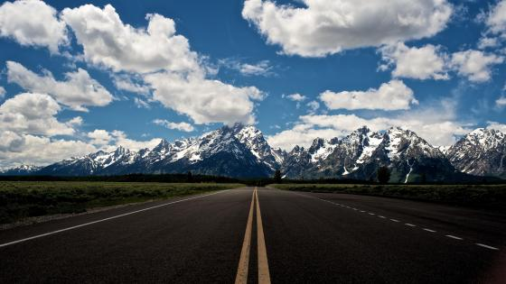 The Teton Range view from the highway wallpaper