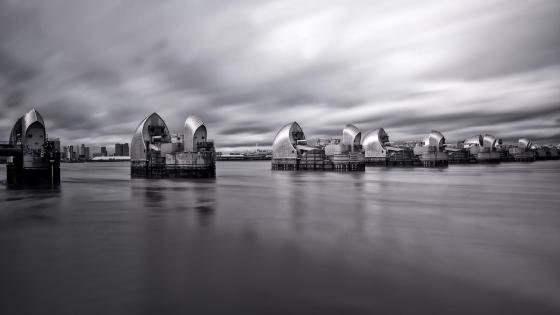 Thames Barrier - Monochrome photography wallpaper
