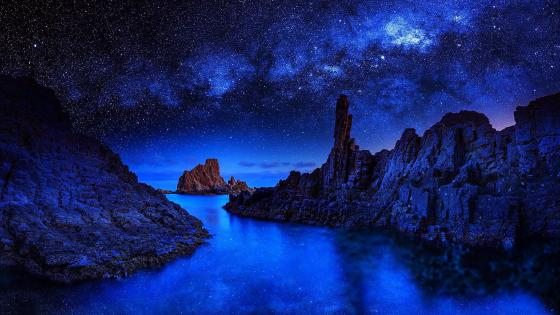 Night sea with stars wallpaper