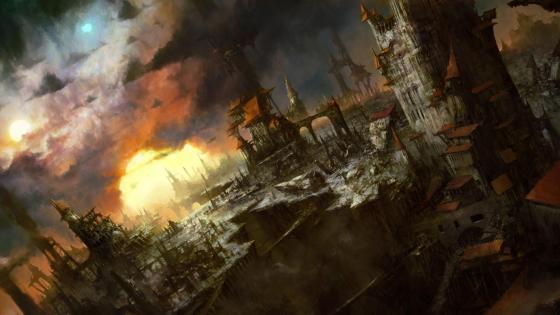 Fantasy cityscape wallpaper