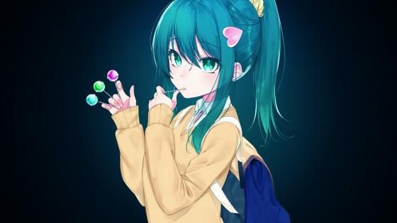 Anime girl with blue hair wallpaper