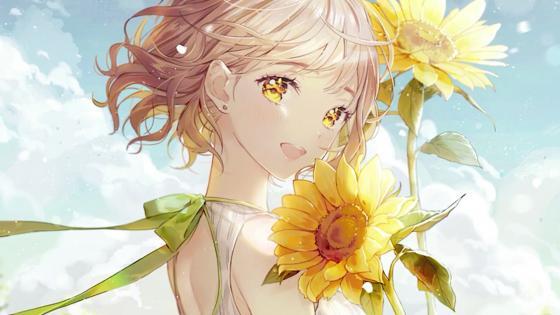 Anime girl with blonde hair wallpaper