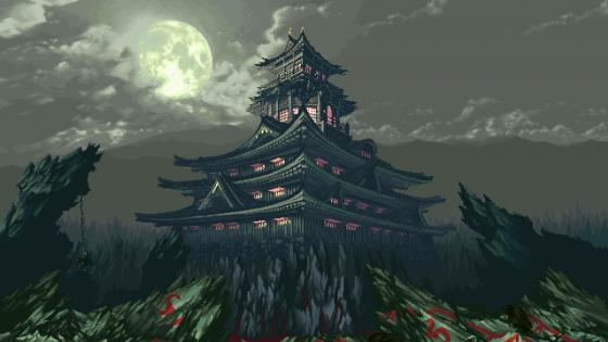 Japanese pagoda under the full moon - Retro pixel art wallpaper